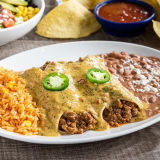 Border Queso Beef Enchiladas